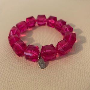 Tarina Tarantino hot Pink Lucite stretch bracelet